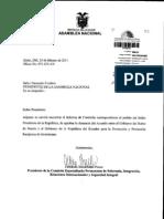 Informe sobre pedido para que AN apruebe  denuncia del TBI Ecuador - Suecia