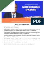 """Les candidats de la liste """"Notre région d'abord"""""""