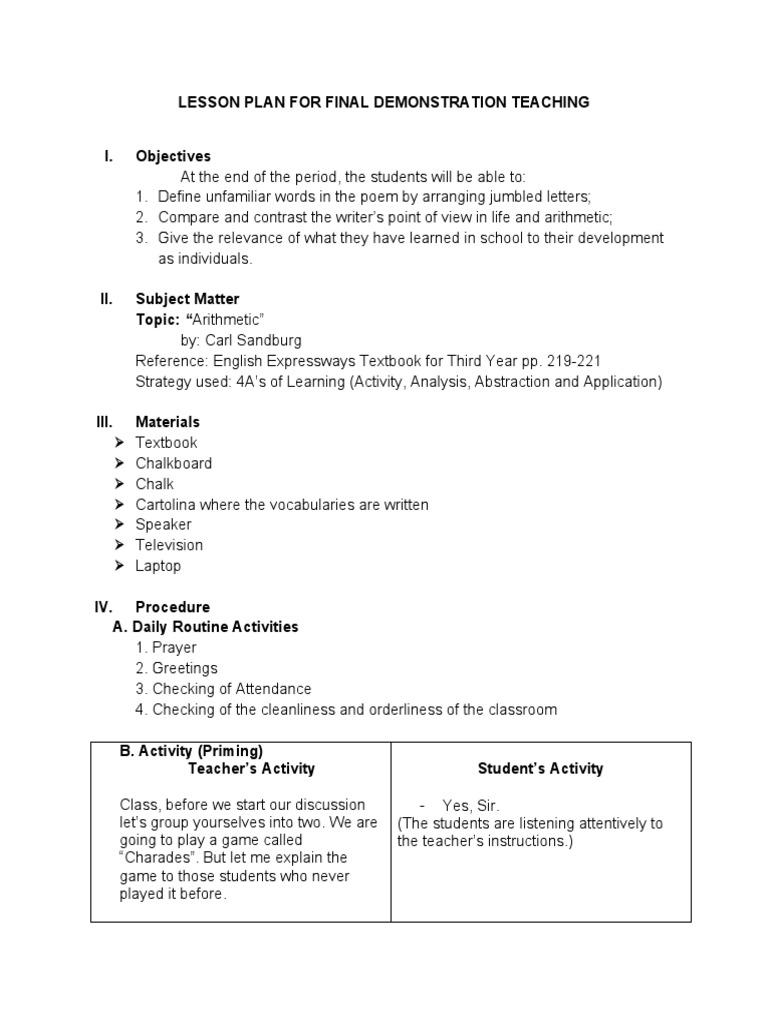 Worksheet Sample Lesson lesson plan for final demonstration teaching