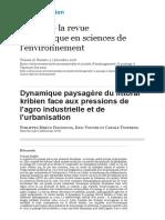 Dynamique Paysagère Du Littoral Kribien Face Aux Pressions de l'Agro Industrielle Et de l'Urbanisation