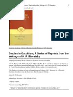 H.P.Blavatska -Studies in occultism