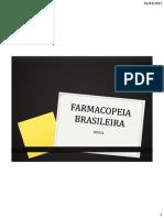 Webapresentação Farmacopeia Brasileira, Agua e Interdisciplinaridade