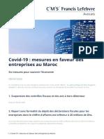 Covid 19 Mesures en Faveur Des Entreprises Au Maroc