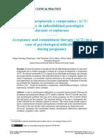 Terapia de Aceptación y Compromiso (ACT) en Un Caso de Inflexibilidad Psicológica Durante El Embarazo