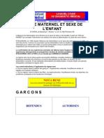 copy page web REGIME MATERNEL ET SEXE DE L'ENFANT