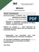 EXERCÍCIOS ARTICULAÇÕES CARTILAGINOSAS 24 03 2020