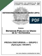 Prova discursiva (grupo I) 2ª fase - DPU 2001