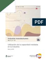 Capacidad instalada de la Industria, Argentina, Marzo 2021, INDEC.