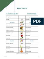 Mémo Unité 2-Les légumes