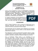 Acuerdo N° 019 de 2004-SAN SEBASTIAN DE MARIQUITA