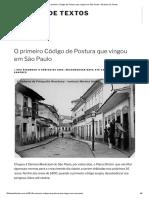 O primeiro Código de Postura que vingou em São Paulo – 50 Anos de Textos