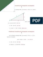 Problemas resueltos de triángulos rectángulos