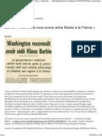 Bolivie - «Comment Nous Avons Remis Barbie à La France» - Histoireetsociete