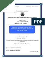Facteurs Explicatifs de La Morbidité Diarrhéique Chez Les Enfants Au Tchad