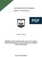 Perda No 10 thn 2010 ttg BPBD Kota Pariaman