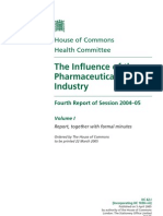 2005 house of commons--influence of pharamceutical industry