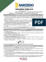 Caderno de Prova - Cargos 101 a 104 Servente Escolar Sarzedo