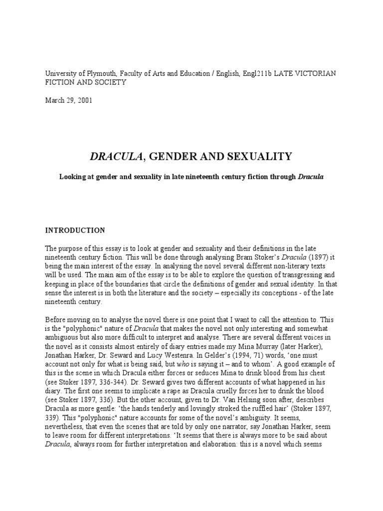 gender and sexuality in dracula dracula