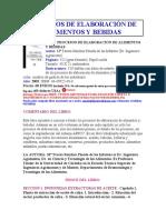 PROCESOS DE ELABORACIÓN DE ALIMENTOS Y BEBIDAS