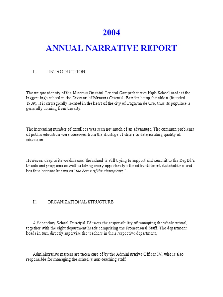 a narrative report How to write a narrative essay narrative essays are commonly assigned pieces of writing at different stages through school typically, assignments involve telling a story from your own life.
