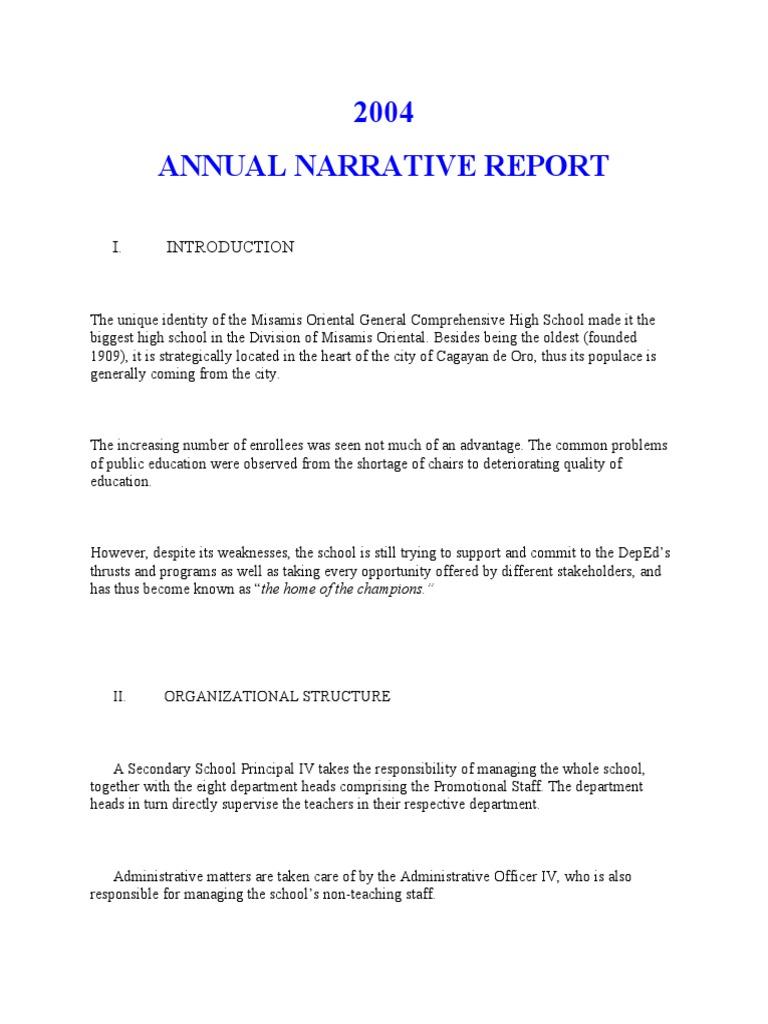 Annual narrative report a sample teachers educational technology fandeluxe Choice Image
