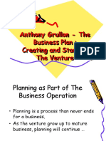 Anthony Grullon - The Business Plan Creating and Starting the Venture