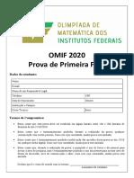 Prova 1ª Fase OMIF 2020