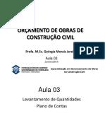 Aula 3  - ORÇAMENTO DE OBRAS DE CONSTRUÇÃO CIVIL