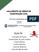 Aula 4  - ORÇAMENTO DE OBRAS DE CONSTRUÇÃO CIVIL