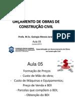Aula 5  - ORÇAMENTO DE OBRAS DE CONSTRUÇÃO CIVIL