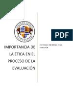 Importancia de la etica en la evaluacion