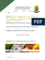 1.1 OBJETO E IMPORTANCIA DE LA PSICOLOGÍA DEL TRABAJO.
