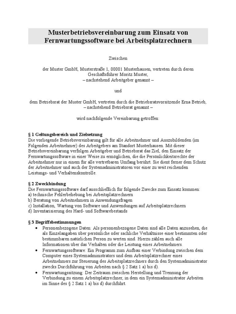 betriebsvereinbarung_fernwartung - Muster Betriebsvereinbarung