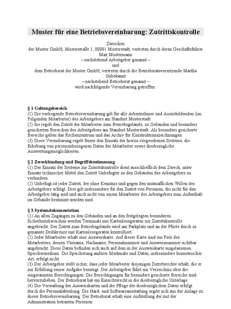 muster betriebsvereinbarung als pdf br wiki betriebsvereinbarung_zutrittskontrolle - Muster Betriebsvereinbarung