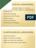 CLASIFICACION DE LA MAQUINARIA