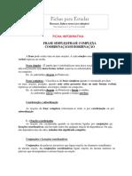 Ficha Informativa Resumo Portugues 7 Ano Frase Simples Complexa Coordenacao e Subordinacao
