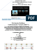 Atividade PHET - Movimento Retilíneo Uniformemente Variado (MRUV)