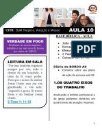 EBD - Lição 10 -EU APLICADO - BaM -PIM 3  -CDM- 2019
