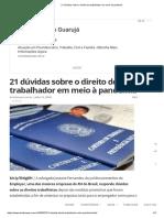 21 dúvidas sobre o direito do trabalhador em meio à pandemia