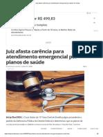 Juiz afasta carência para atendimento emergencial por planos de saúde