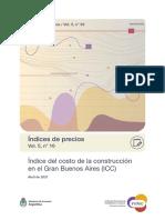 Índice del costo de la construcción en el Gran Buenos Aires (ICC). Abril de 2021. INDEC.