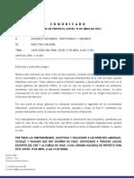 Comunicado CP-Cacerolazo Nacional Jueves 15 de Abril