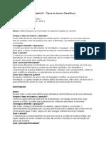 Atividade 01 - Tipos de textos Científicos