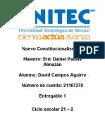 Nuevo Constitucionalismo Entregable 1 David Campos Aguirre