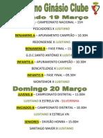 Agenda Desportiva do Lusitano para 19 e 20 de Março