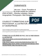 Cours Et Formations Sur Photoshop, Illustrator, Indesign Et Wordpress _ Styliste Infographiste