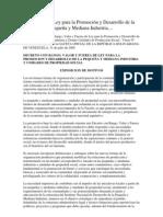Ley de promoción y desarrollo  de la pequeña y mediana industria