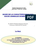 BASES DE LA CARACTERISATION DES RACES ANIMALES DOMESTIQUES