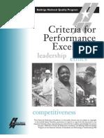 Malcolm Baldrige Excellence  Criteria 2010