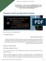 Pequeno Curso de Filosofia Do Direito - Contra Os Acadêmicos